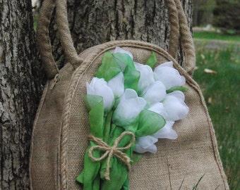 Embroidered Tote Bag   Designer purse   Handmade bag burlap   Bag   Bag burlap and silk ribbon   satin   gift    Flower Tote Bag   Handbags