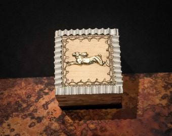 Handmade Lucky English Hare Box with Token