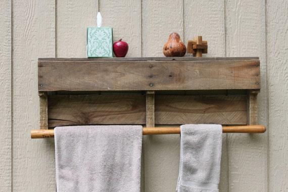 items similar to pallet towel rack and shelf on etsy. Black Bedroom Furniture Sets. Home Design Ideas