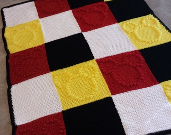 Mickey Mouse Themed Crochet Bobble Blanket