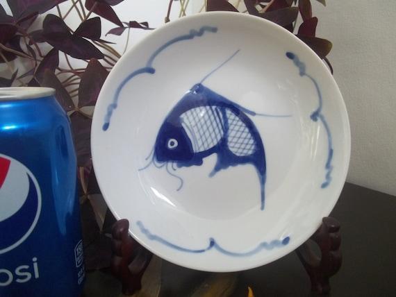 Koi goldfish blue white fish dish bowl porcelain plate for Blue and white koi fish