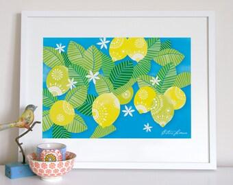 Lemons and blue sky, tropical kitchen print, kitchen poster, lemons print, lemons poster, lemons illustration print, kitchen art, kitchen