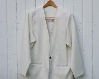 Vintage 80s Oversized Blazer | white | pinstripe