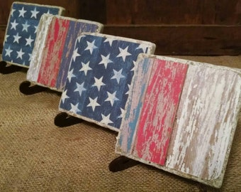 Flag Coasters, Stars and Stripes Coaster Set, Americana Coaster Set, Patriotic Coaster Set, USA Flag Coaster Set, American Flag Coaster Set