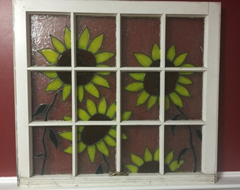 """Hand Painted Sunflowers on Window.  30"""" wide by 28"""" tall"""