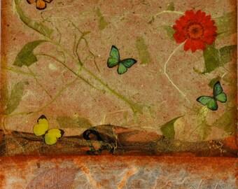 Butterflies in the Garden 6x6 mixed media original, pressed flower abstract