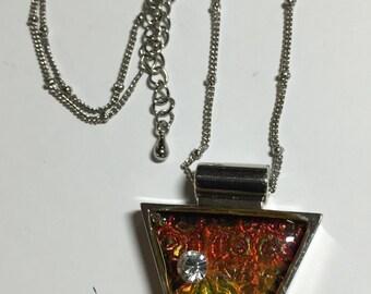 Faux Dichroic Pendant - Silver