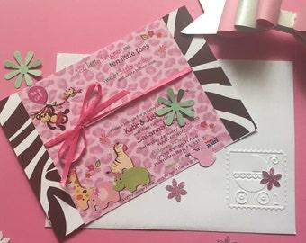 Safari Themed Baby Shower Invitations (Girl) Custom Made