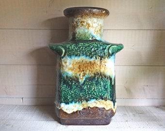 W German Fat Lava Vase, West German Pottery Vase by Dulmer & Breiden, 1960s 1970s West German Pottery