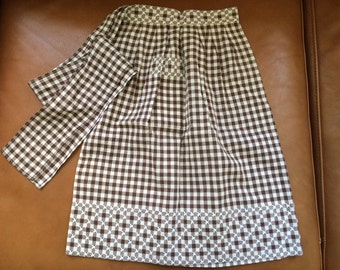 Vintage Brown Gingham Check Apron Hand Embroidered