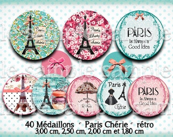 digital images * Paris Liberty * Eiffel flower badge umbrella bow Blue rose collage digital scrapbooking cabochon jewel