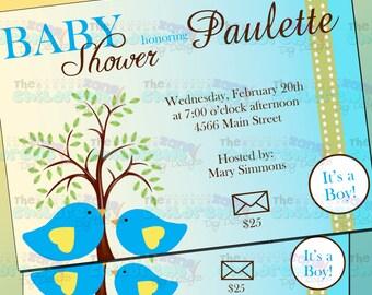 Baby Shower Birds Invitation - Boy