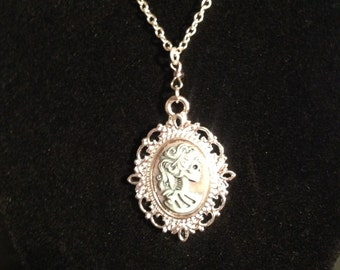 Dusky Pink and Gray Lady of Death Cameo Necklace