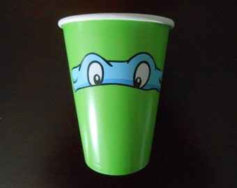 """18 Printed 3 1/8"""" x 3/4"""" TMNT Eyes, Masks, Stickers, Birthday party, for cups and other small decorations, teenage mutant ninja turtles"""