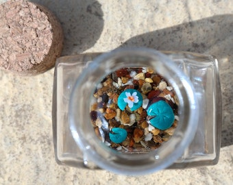 Miniature Polymer Clay & Resin Pond in a Bottle - Polygon