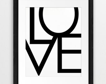 Love - Typography Printable Art, Love Word Art, Black And White Decor - Modern Wall Art Home Office Decor Digital Print Instant Download Art