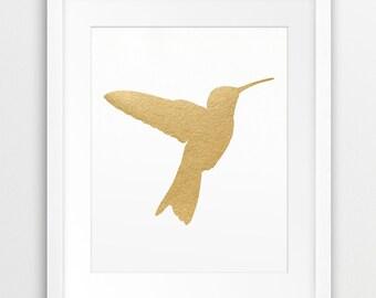 Gold Hummingbird Print, Bird Wall Art, Hummingbird Silhouette Gold Foil Texture, Colibri Art, Modern Wall Art, Nursery Decor, Printable Art