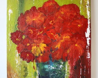 Painting still lifes, flowers in pot
