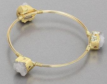 Druzy wire wrapped bracelet