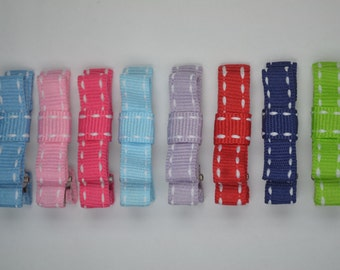 8 pairs (4.5cm / 1.8in) Mixed Colors White Stitched Hair Clip for Toddlers / Kids