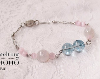 Baby Pink & Blue Crystal Beaded Bracelet