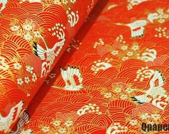 22 inch x 16 inch (58cm x 42cm) chiyogami washi yuzen paper, white cranes on red background 315