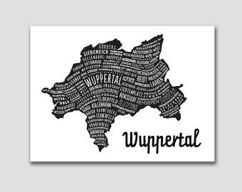 Wuppertal Citymap, Germany Map, Graphic Art, Poster, Print, Gift ,Stadtplan