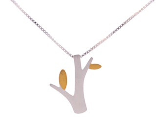 Little Tree Design Sterling Silver Necklace Brushed Textured Finish 16'' - 18''