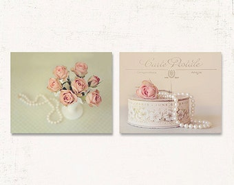 French Country Decor Shabby Chic Wall Art SET Of TWO Prints Or Canvases