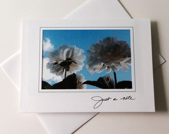 Peonies & Clouds Photo Note Card Blank Inside Just a Note
