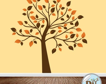 Brown and Orange Vinyl Tree Decal - Wall Decor - Wall Art - Vinyl Wall Decal - Vinyl Wall Tree - Vinyl Tree Decal - 6191511