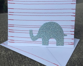 Striped or Zig Zag Elephant Handmade Greeting Card