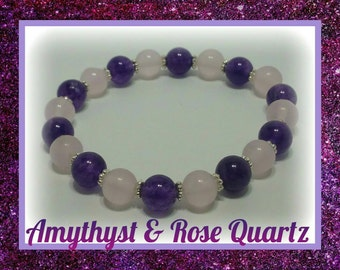 Amythyst & Rose Quartz Crystal Bracelet
