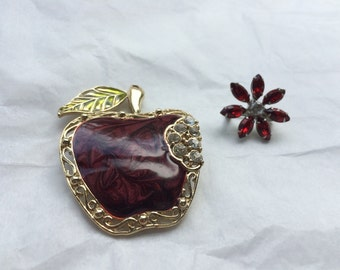 vintage apple and flower pins