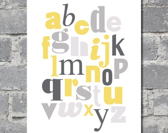 Alphabet in Yellow and Gray (8x10) DIGITAL FILE