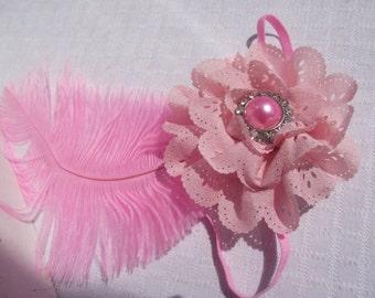 PINK Feather Flapper Headband,Photo Shoot Headband,Baby Headband,Pink Flapper Costume Headband,Pink HAIR Accessories,Flower Girl Headband