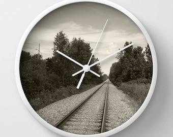 Railroad Tracks, Photograph,black,Modern Clock,Retro Clock,Winter Decor,Home Decor,Round Clock,Rustic Clock,Home Accessories,Interior Design