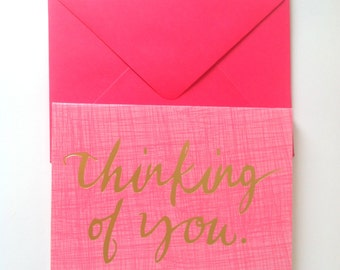 "Set of 6 ""Thinking of You"" Pink Gold Blank Note Cards"