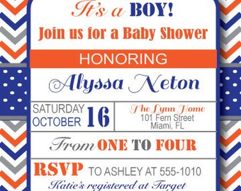 Whale Navy/Orange Baby Shower Invitation, Digital