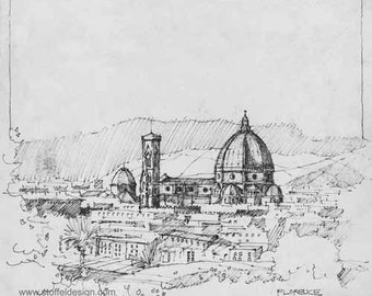 Sketch of Florence, Italy (Print)