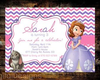 Sophia The First Birthday Invite, 1st Birthday, 2nd Birthday, 3rd Birthday, PRINTABLE