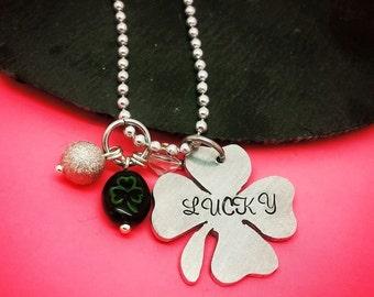 Hand Stamped Lucky Necklace, Shamrock, Lucky, Irish