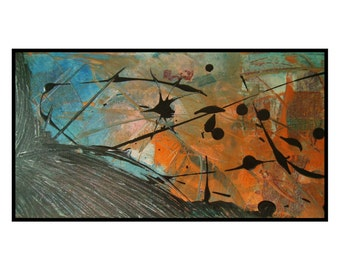 Orange Blue Original Abstract Painting Canvas Art Space Unique Concept Artwork Comet by Robert McConvey
