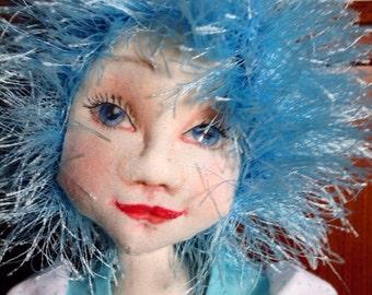 OOAK cloth doll, fabric art doll blue hair cloth doll