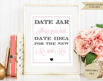 Date jar sign (PRINTABLE FILE) - Date jar - Date night sign - Date night jar - Date night ideas
