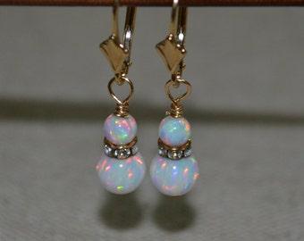 White Opal Drop Earrings, Gold dangle earrings, Chain dangle earrings, Opal earrings, Thread earrings