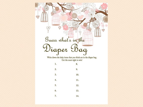 bag game what 39 s in the bag game girl bird cage baby shower games