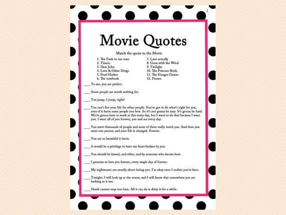 Movie Quote Game, Famous Love Quotes Game, Movie Game, Black Dots Bridal  Shower Games, Bachelorette Games, Wedding Shower Games BS24