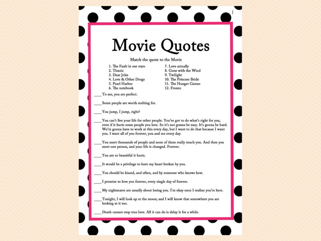 movie quote game famous love quotes game movie game Black