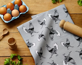 Son et son oiseau torchons-coq et Swan - Country Kitchen